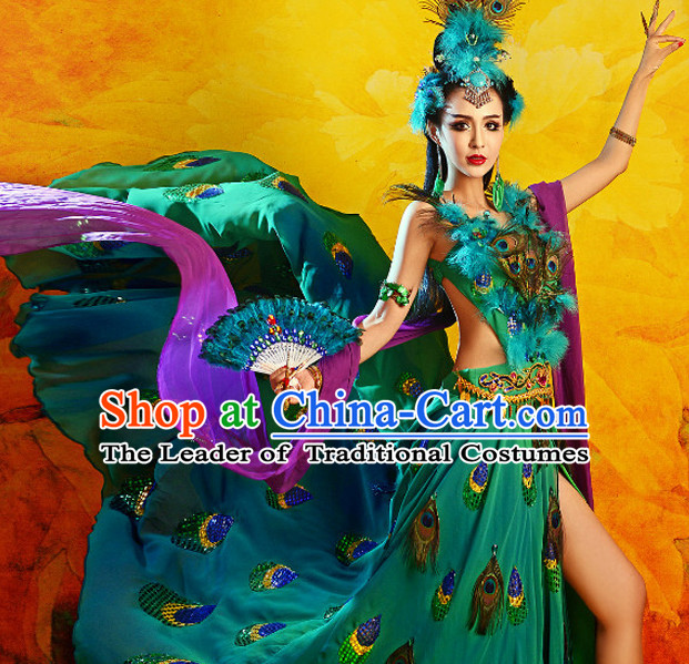 Chinese TV Drama Peacock Beauty Costume Ancient Theatrical Costumes Historical Clothing and Hair Jewelry Complete Set for Women