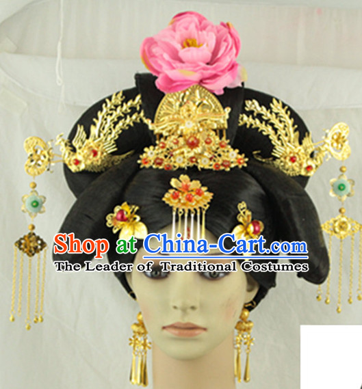 Traditional Chinese Style Black Wigs and Hairpins for Women