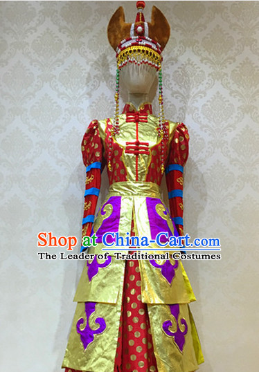 Chinese Mongolian Folk Dance Costume for Women or Girls
