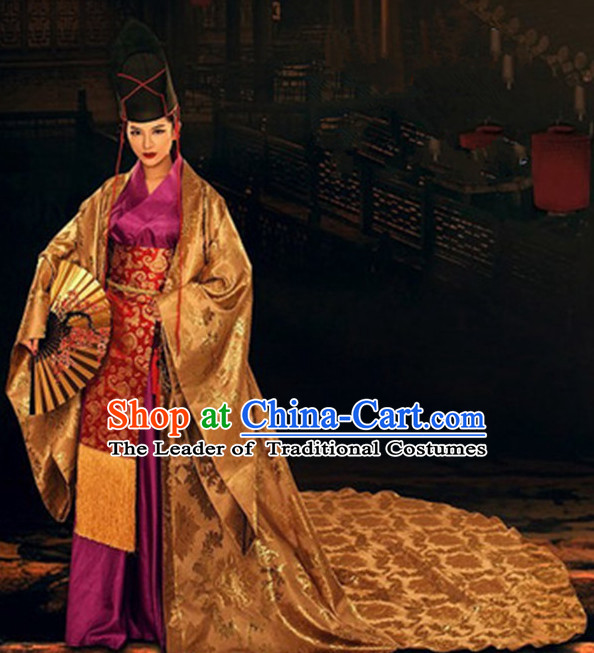 Top Chinese Ancient Men and Women's Clothing & Apparel Chinese Traditional Dress Theater and Reenactment Robes Complete Set