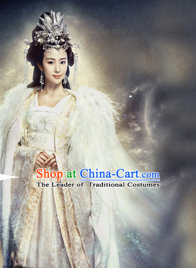 Top Chinese Ancient Women's Clothing & Apparel Chinese Traditional Dress Theater and Reenactment Costumes and Hat Complete Set