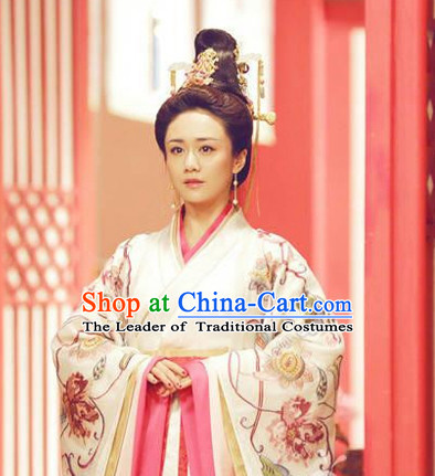 Top Chinese Ancient Empress Women's Clothing & Apparel Chinese Traditional Dress Theater and Reenactment Costumes and Hat Complete Set