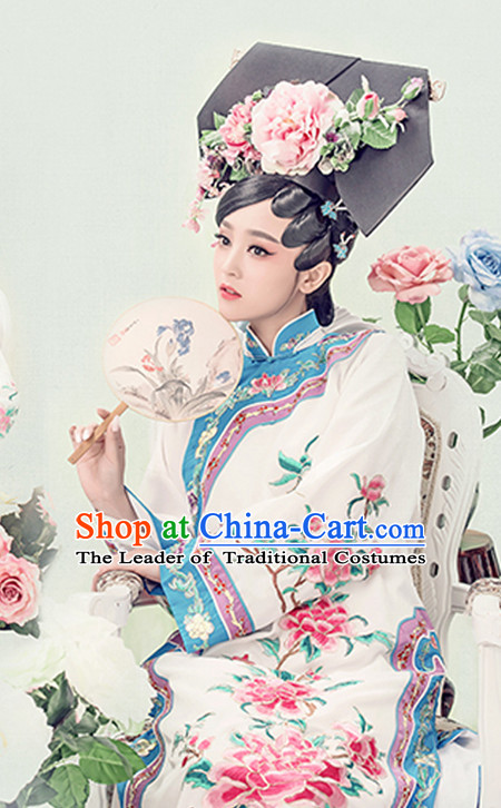 Top Qing Dynasty Princess Cheongsam Silk Qipao Hanfu Dress Hanbok Kimono Cosplay Costume Traditional Dresses and Hat Complete Set