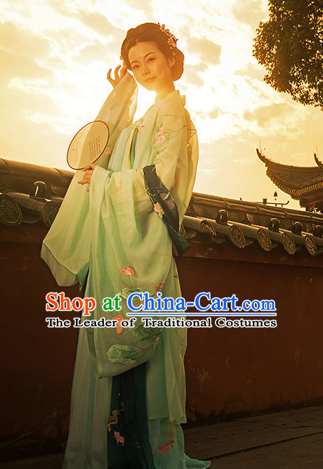 Chinese Traditional Hanfu Dress Ancient Chinese Lady Costumes and Headpieces Complete Set for Women Girls