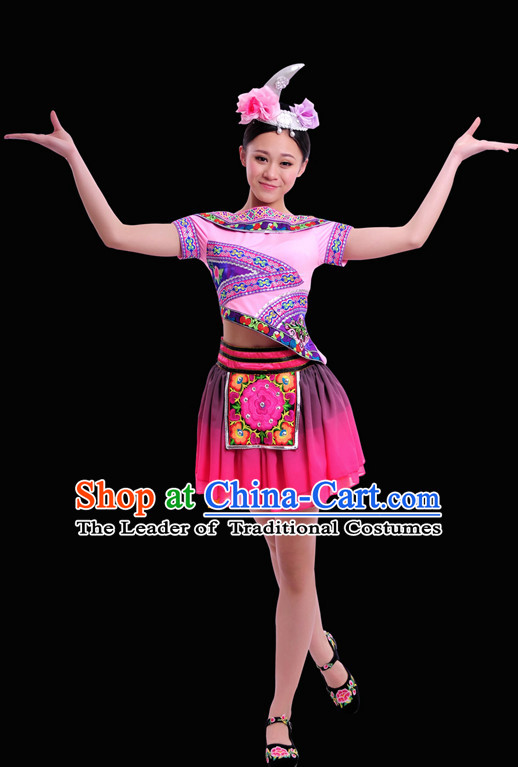 Happy Festival Chinese Minority Dress Miao Uniform Traditional Stage National Costume Sale