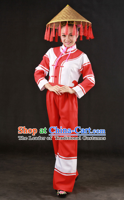 Happy Festival Chinese Minority Dress Miao Uniform Traditional Stage Ethnic National Costume Sale and Hat Complete Set