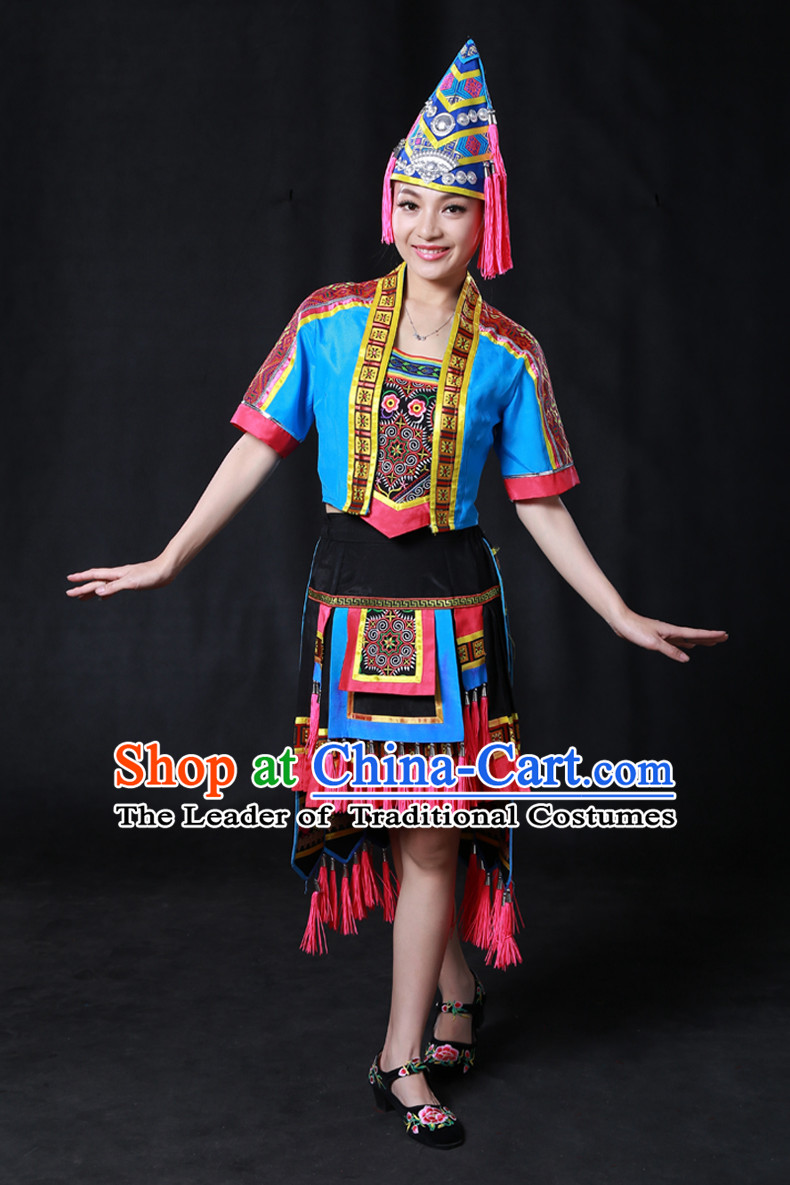 Happy Festival Chinese Minority Dress Uniform Traditional Stage Ethnic National Costume Sale Complete Set