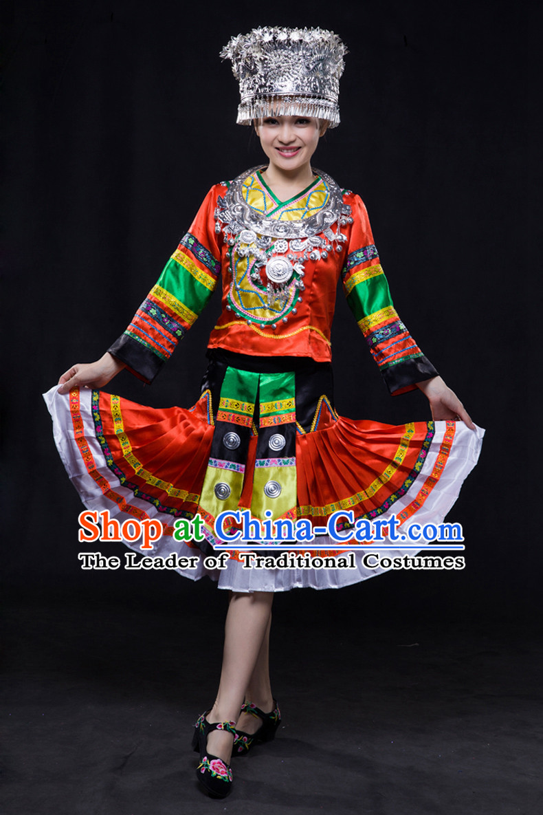 Happy Festival Chinese Minority Dress Miao Uniform Traditional Stage Ethnic National Costume Sale Complete Set