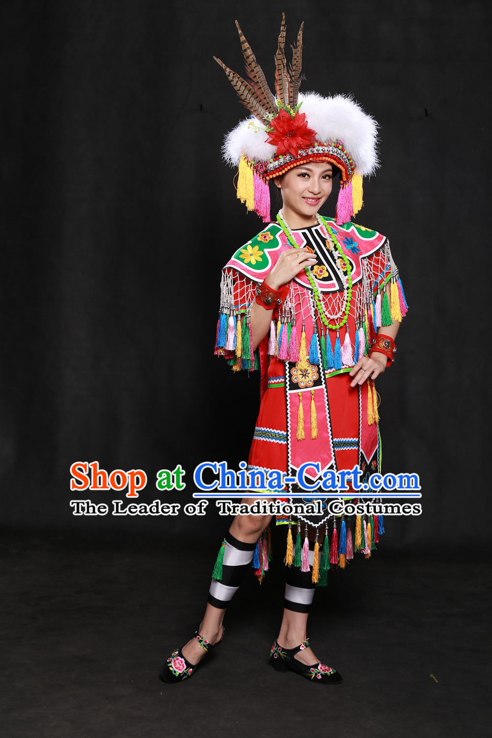 Happy Festival Chinese Minority Dress Taiwan Uniform Traditional Stage Ethnic National Costume Sale Complete Set