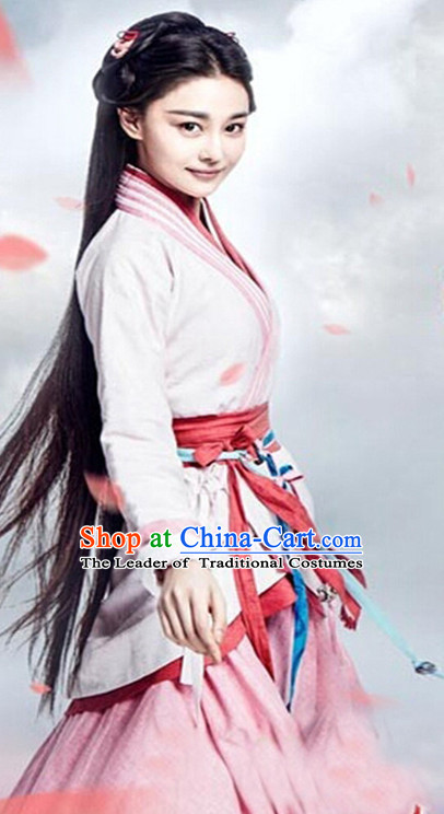 Top Chinese Ancient Guzhuang Hanfu Women's Clothing & Apparel Chinese Traditional Dress Theater and Reenactment Costumes and Headwear Complete Set