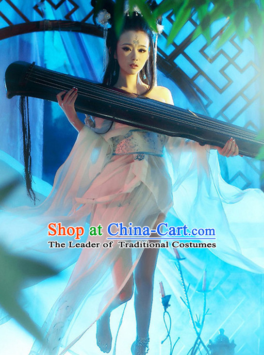 Top Chinese Ancient Guzhuang Hanfu Women's Clothing _ Apparel Chinese Traditional Dress Theater and Reenactment Costumes Complete Set