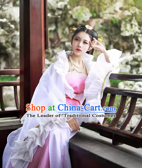 Top White Chinese Imperial Royal Princess Traditional Wear Queen Dresses Fairy Cosplay Costumes Ideas Asian Cosplay Supplies Complete Set
