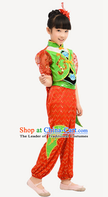 Traditional Chinese Costume Chinese Dance Costumes Complete Set for Kids Girls