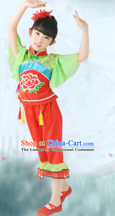 Traditional Chinese Fan Dancing Costume Chinese Dance Costumes Complete Set for Kids Girls