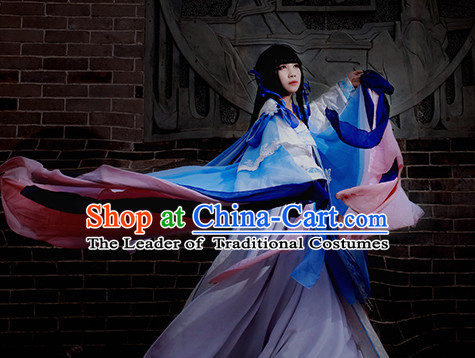 Top Blue Pink Chinese Imperial Royal Princess Traditional Wear Queen Dresses Fairy Cosplay Costumes Ideas Asian Cosplay Supplies Complete Set