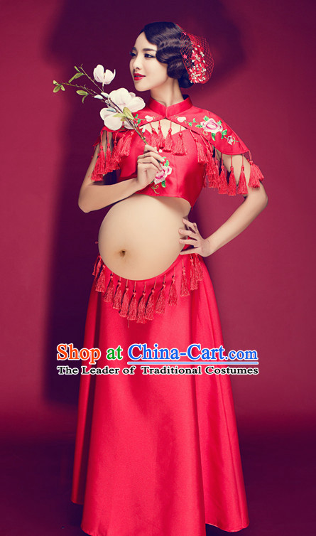 Traditional Chinese Pregnant Women Clothes CLassical Dress Complete Set