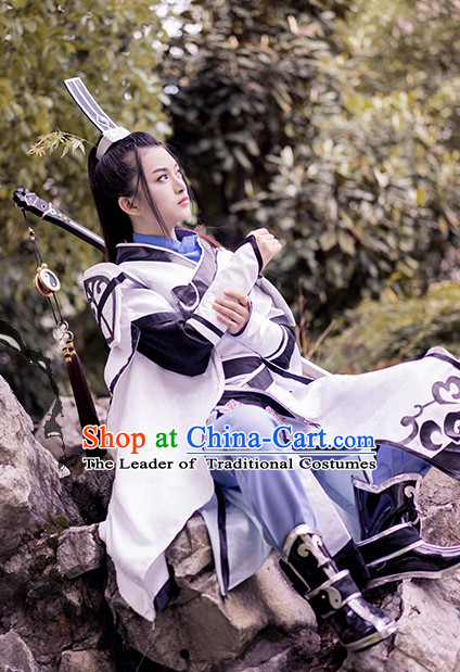 Taoist Swordsman Hanfu Hanzhuang Han Fu Han Clothing Traditional Chinese Dress National Costume Complete Set for Men or Boys
