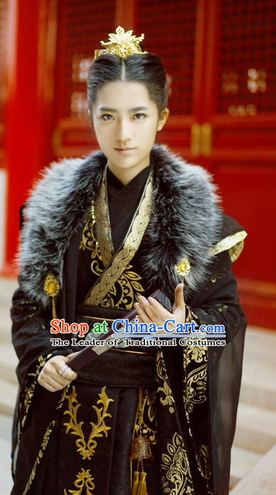 Royal Palace Imperial Emperor Hanfu Hanzhuang Han Fu Han Clothing Traditional Chinese Dress National Costume Complete Set for Men or Boys