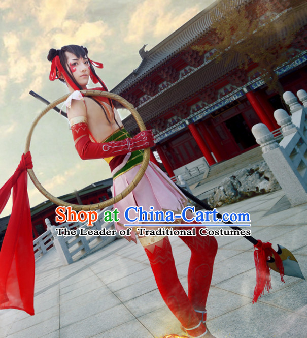 Nezha Cosplay Hanzhuang Han Fu Han Clothing Traditional Chinese Dress National Nezha Costume Complete Set for Men or Boys