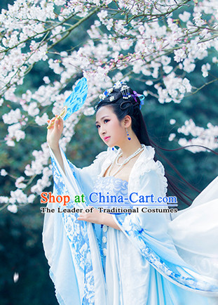 Light Blue Ancient China Princess Garment Traditional Imperial Queen Costumes High Quality Chinese Empress National Costumes and Accessories Complete Set for Women