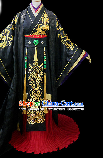 Black Ancient Chinese Emperor Garment Hanfu Costumes High Quality Chinese National Costumes Complete Set for Men
