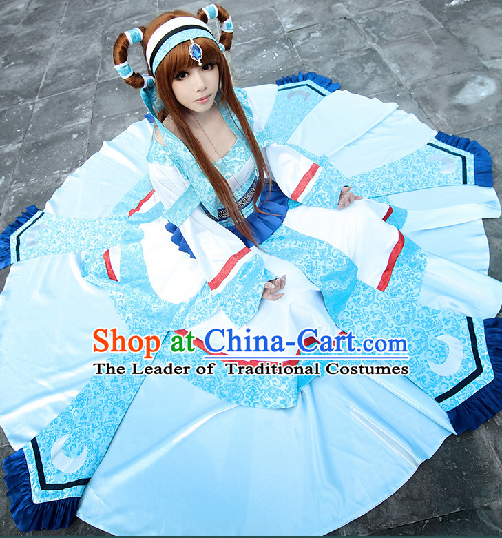 Ancient Chinese Cosplay Princess Hanfu National Costumes and Headpieces Complete Set for Women