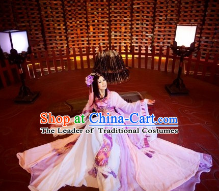 Ancient Chinese Fairy Beauty Hanfu National Costumes and Headpieces Complete Set for Women