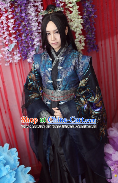 Top Chinese Ancient Artist Dresses Theater and Reenactment Costumes Complete Set for Men