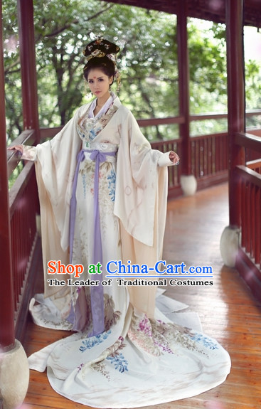 Top Chinese Ancient Princess Garment Theater and Reenactment Costumes and Headgear Complete Set for Women Girls