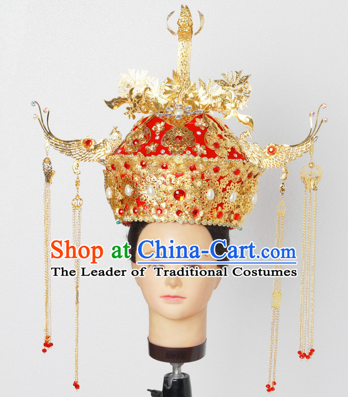 Stunning Beautiful Handmade Chinese Ancient Imperial Empress Wedding Phoenix Hat