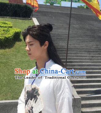 Ancient Chinese Warrior Knight Long Black Wigs for Men