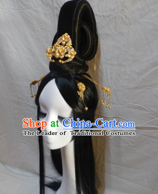 Chinese Classic Lady Black Long Wigs Headwear Crowns Hats Headpiece Hair Accessories Jewelry Set