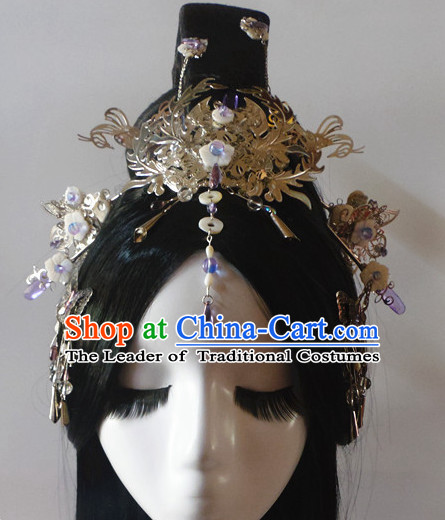 Chinese Classic Lady Princess Fairy Headwear Crowns Hats Headpiece Hair Accessories Jewelry Set