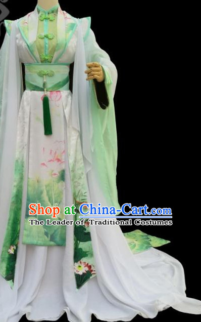 Green Lotus Chinese Traditional High Collar Empress Clothing Complete Set