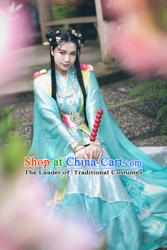 Top Blue Green Chinese Ancient Princess Hanfu Costumes Theater and Reenactment Costumes and Headgear Complete Set for Women