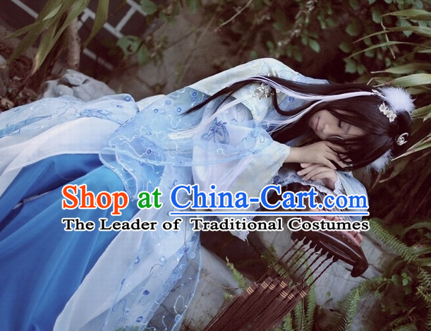 Top Blue Chinese Ancient Princess Hanfu Costumes Theater and Reenactment Costumes and Headgear Complete Set for Women