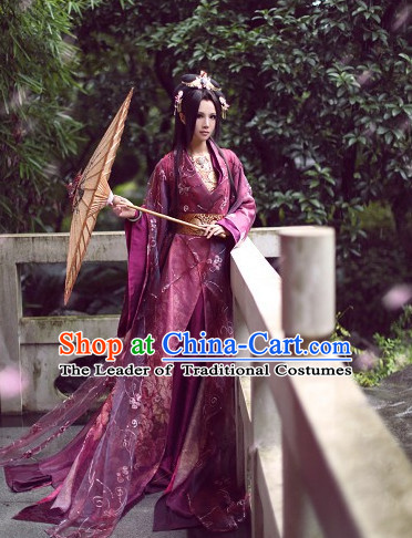 Top Purple Chinese Fairy Princess Hanfu Costumes Theater and Reenactment Costumes and Headgear Complete Set for Women