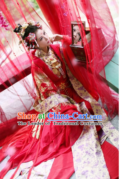 Top Red Chinese Fairy Princess Wedding Dresses Hanfu Costumes Theater and Reenactment Costumes and Headgear Complete Set for Women