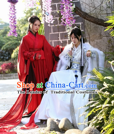 Top Chinese Swordsman Hanfu Clothing Theater and Reenactment Costumes Complete Set