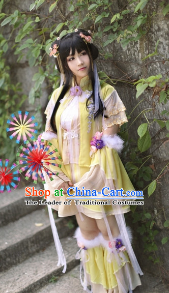 Top Chinese Ancient Costumes Theater and Reenactment Costumes and Headgear Complete Set for Women