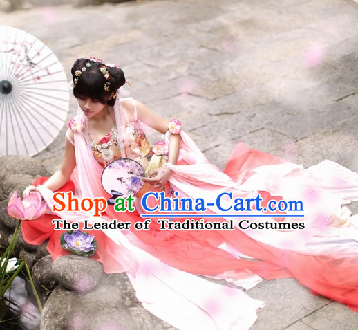 Top Chinese Ancient Princess Costumes Theater and Reenactment Costumes and Headgear Complete Set for Women