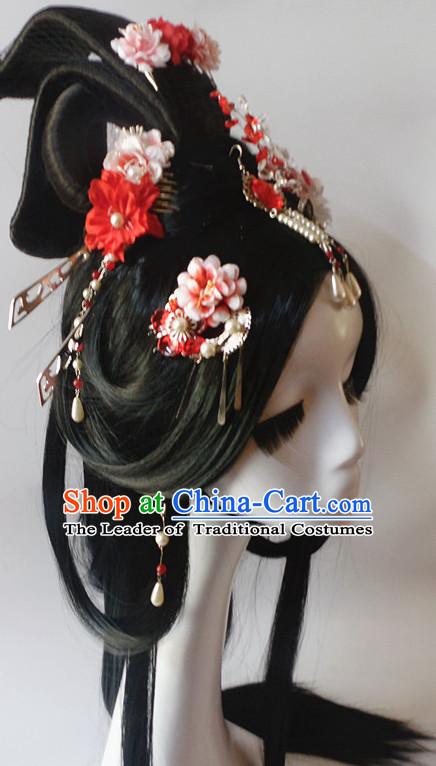 Black Chinese Classical Fairy Long Wigs and Headwear Crowns Hats Headpiece Hair Accessories Jewelry Set