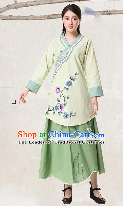 Chinese Classical Hand Painted Peony Cotton and Flax Mandarin Blouse