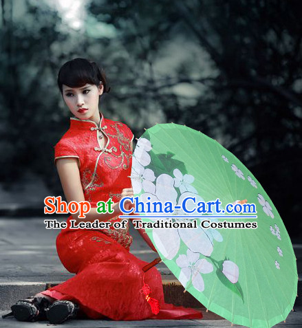 Asian Dance Umbrella Chinese Handmade Green Flower Umbrellas Stage Performance Umbrella Dance Props