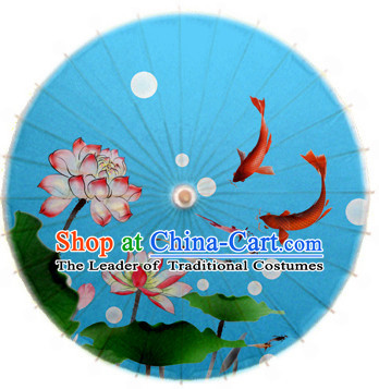 Blue Asian Dance Umbrella China Handmade Traditional Fish Umbrellas Stage Performance Umbrella Dance Props