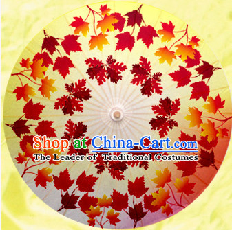Asian Dance Umbrella China Handmade Traditional Red Leaf Umbrellas Stage Performance Umbrella Dance Props