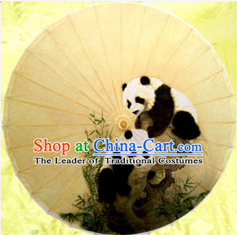 Asian Dance Umbrella China Handmade Traditional Panda Umbrellas Stage Performance Umbrella Dance Props
