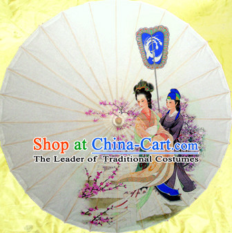 White Asian Dance Umbrella China Handmade Traditional Umbrellas Stage Performance Umbrella Dance Props
