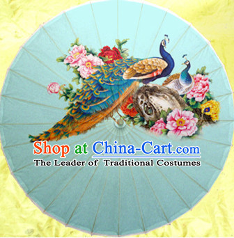 Traditional Rainproof Handmade Chinese Classic Oil Paper Peacock Umbrellas China Dance Umbrella Stage Performance Umbrella Dancing Props