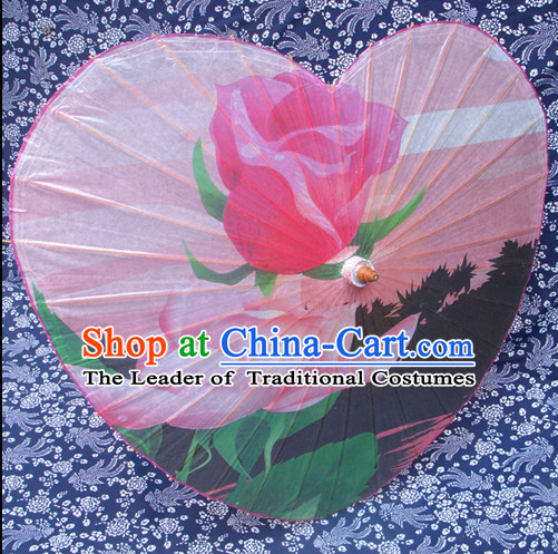 Heart Shape Traditional Rainproof Handmade Chinese Classic Oil Paper Umbrellas China Dance Umbrella Stage Performance Umbrella Dancing Props